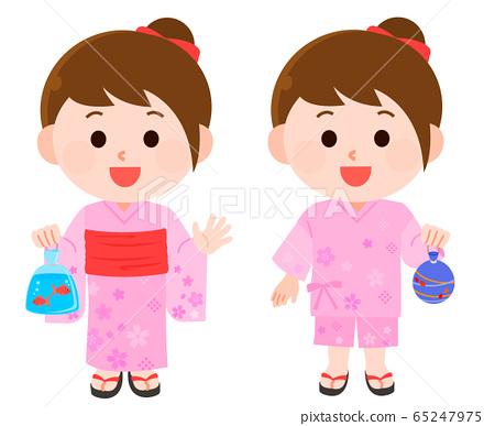 夏季節日浴衣,金杯女孩插畫 65247975