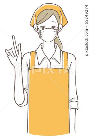 女店員指著手指面具 65249274