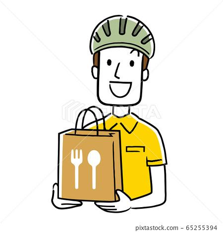 일러스트 소재 : 음식 배달 집배원 65255394