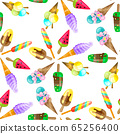 Ice cream cone seamless pattern background. Realistic. Bright and pastel colors. For print and web. 65256400