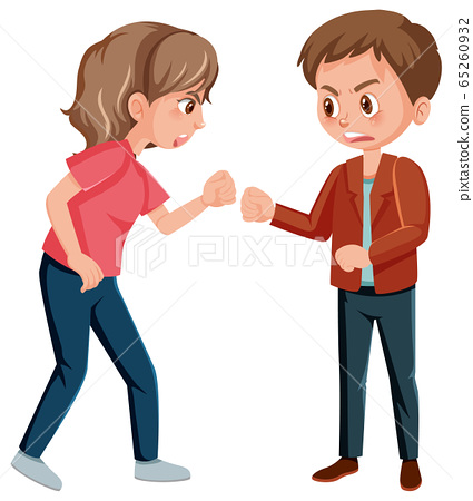 Domestic violence scene with man and woman 65260932