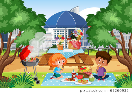 Scene with kids having picnic in the park 65260933