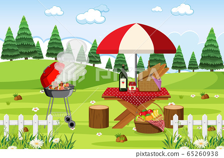 Scene with BBQ grill and food on the picnic table 65260938