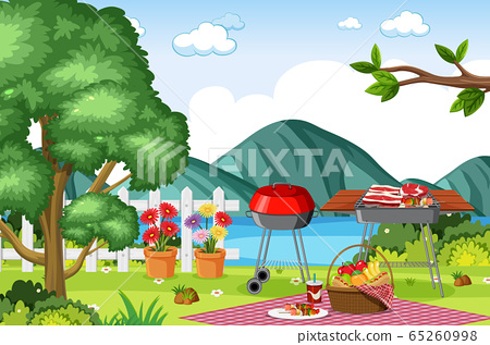 Background scene with BBQ in the park 65260998