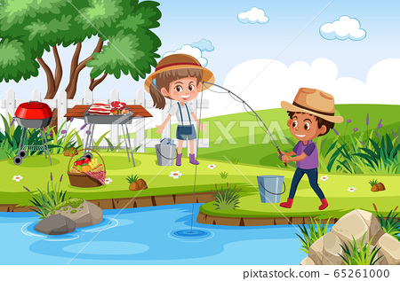Background scene with kids fishing in the park 65261000