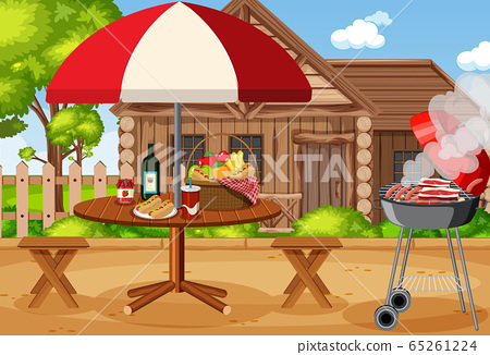 Scene with BBQ grill and food on the picnic table 65261224