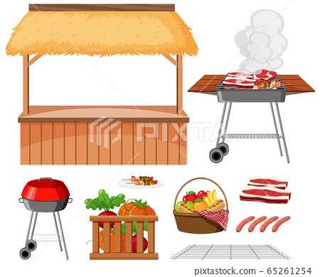 Picnic set with BBQ grill and food on white 65261254