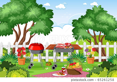Background scene with BBQ in the park 65261258