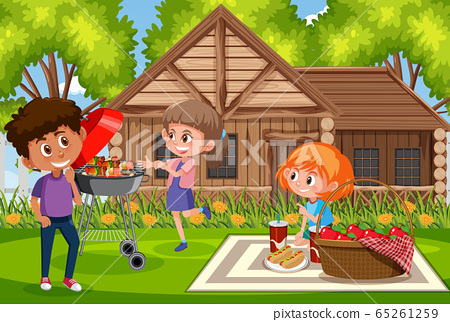 Background scene with kids eating in the park 65261259