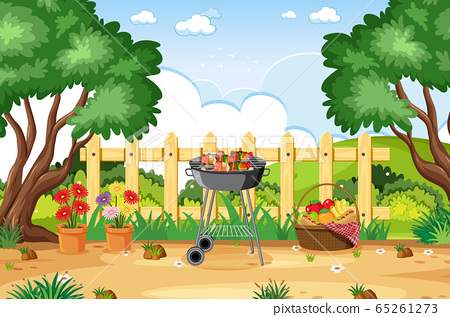 Background scene with BBQ in the park 65261273