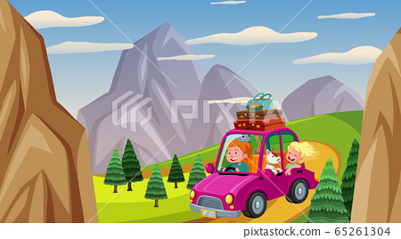 Scene with people driving car in the countryside 65261304