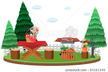 Scene with BBQ grill and food on picnic table in 65261340