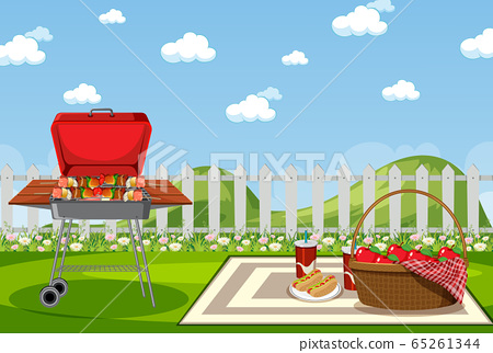 Background scene with BBQ in the park 65261344