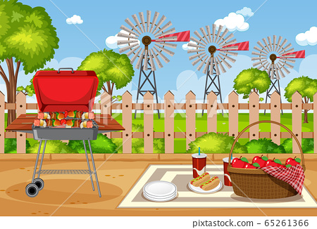 Background scene with BBQ in the park 65261366