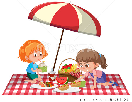 Two girls having picnic on white background 65261387