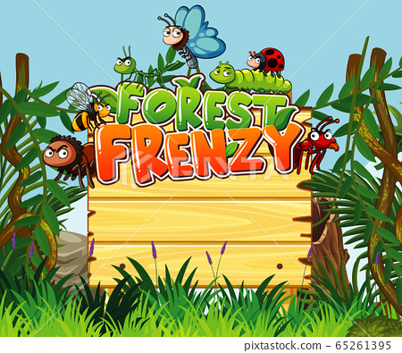 Font design for forest frenzy with many insects in 65261395