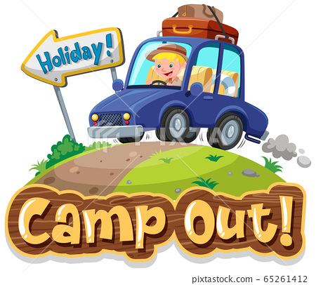 Font design for camp out with tent in the park 65261412