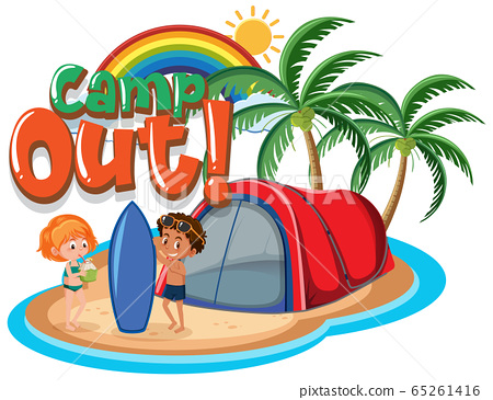 Font design for camp out with tent in the park 65261416