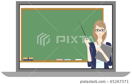 Online class laptop computer cram school smiling female teacher 65267371
