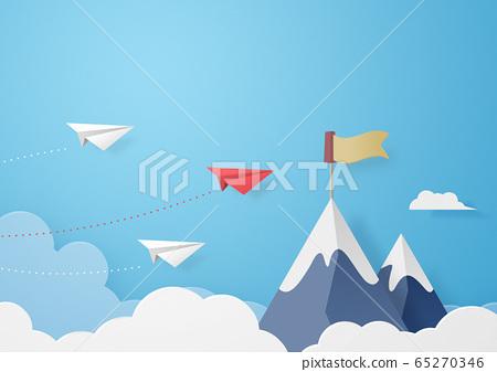 종이 공예 - 하늘 - 구름 - 산 - 봉우리 - 종이 비행기 65270346