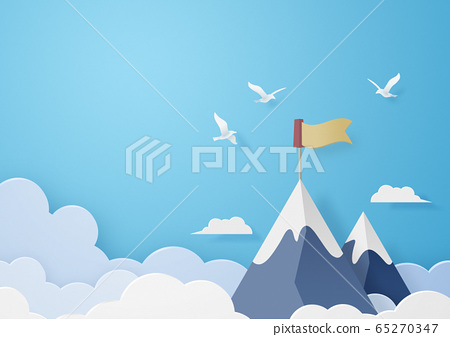 종이 공예 - 하늘 - 구름 - 산 - 봉우리 - 목표 65270347