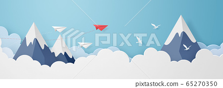 종이 공예 - 하늘 - 구름 - 산 - 봉우리 - 종이 비행기 65270350