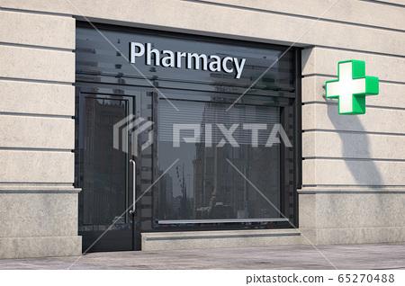 Pharmacy store or drugstore exterior design. 65270488