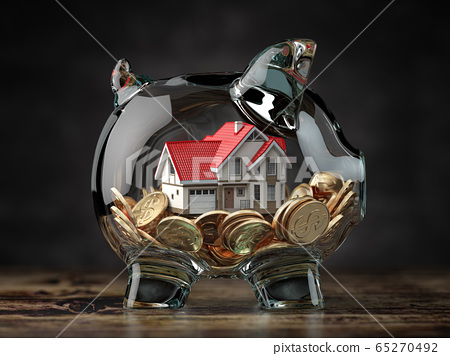 Glass piggy bank with coins and house. Mortgage, 65270492