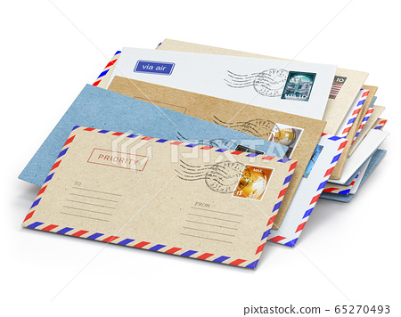 Stack of paper letters with stamps isolated on 65270493