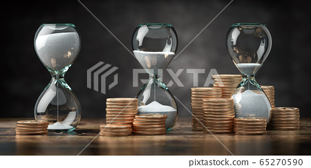 Golden coins and hourglass clock. Return on 65270590