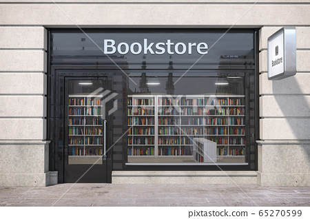 Bookstore shop exterior with books and textbooks 65270599