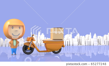 A man and  bike delivery 3d rendering for  transport  content. 65277248