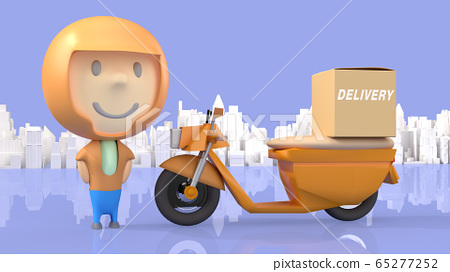 A man and  bike delivery 3d rendering for  transport  content. 65277252