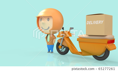 A man and  bike delivery 3d rendering for  transport  content. 65277261