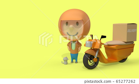 A man and  bike delivery 3d rendering for  transport  content. 65277262
