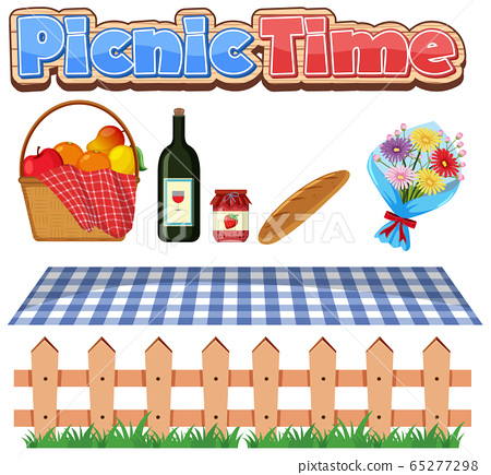 Font design for picnic time with food and flowers 65277298