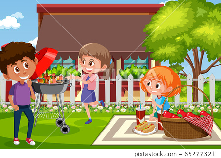 Background scene with kids eating in the park 65277321