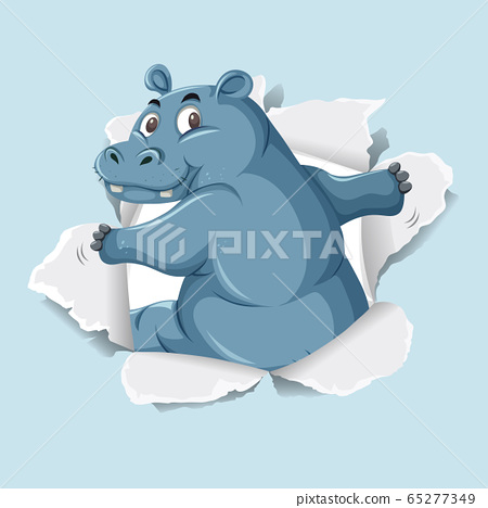 Background template design with wild hippo on blue 65277349