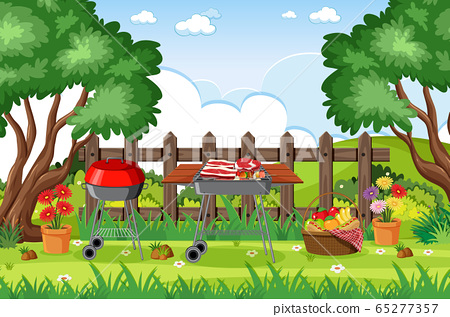 Background scene with BBQ in the park 65277357