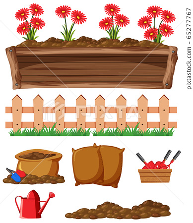 Flowers and gardening items on white background 65277767