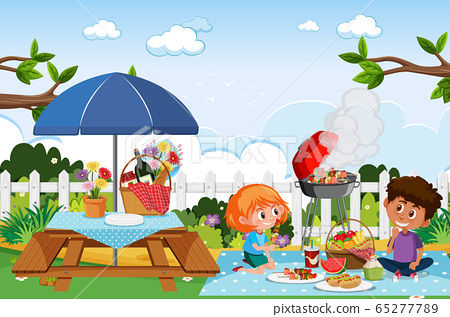 Scene with happy children eating in the park 65277789
