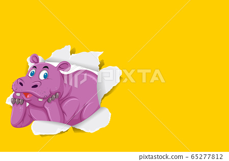 Background template design with wild hippo on 65277812