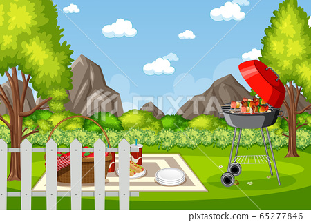 Background scene with BBQ in the park 65277846