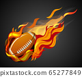 Shooting football with flame on black background 65277849