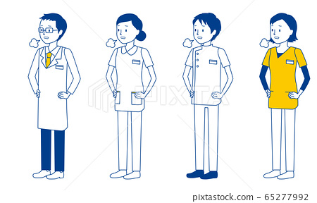 Illustration set of medical workers sighing (doctors, nurses, physiotherapists, radiologists) 65277992