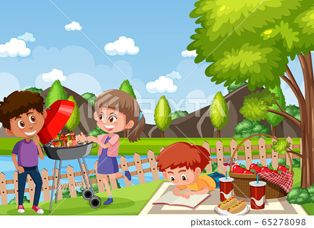 Background scene with kids eating in the park 65278098
