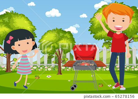 Background scene with people and barbecue in the 65278156