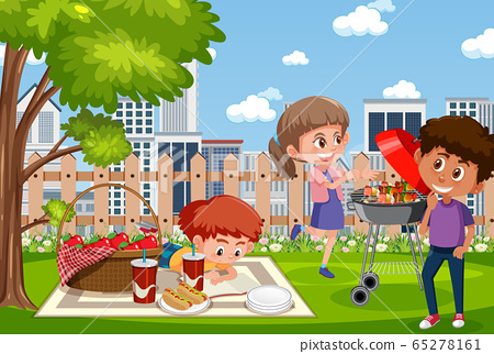 Background scene with kids eating in the park 65278161