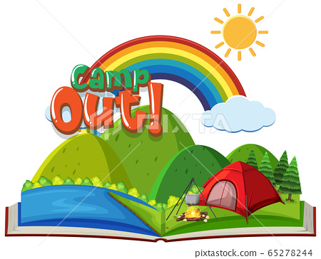 Font design for camp out with tent in the park 65278244