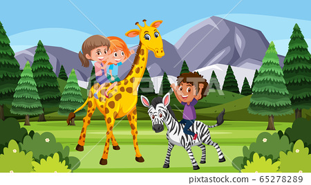 Scene with children playing with animals in the 65278289